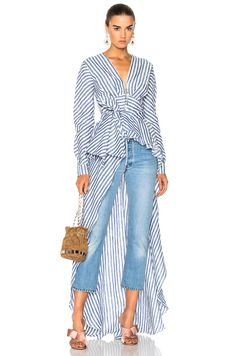 Image 1 of Johanna Ortiz Rio Grande Linen Blouse in Agave Blue & Western White Stripes