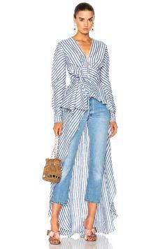 Johanna Ortiz Rio Grande Linen Blouse in Agave Blue & Western White Stripes | FWRD
