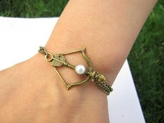 Vintage Style Antique Hunger Games Bronze Bow and Arrow Pendant Women Girl Chain Cuff Bracelet  by braceletcool, $3.99