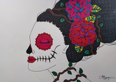 Day of the Dead Art, Sugar Skull Girl Art, 9x12 Inch Drawing, Dia De Los Muertos, Original Drawing, Sugar Skull Art, Calavera Drawing