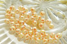 10 pcs Cherry Blossom / Sakura Printed Pearl Beads by misssapporo