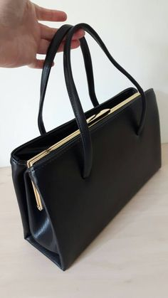 Vintage Large Black Handbag With Compartments 1950s 60s