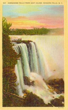 Vintage Linen Postcard Horseshoe Falls Goat Island Niagara Falls NY