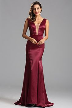 Sexy Plunging Illusion Neck Burgundy Formal Dress Evening Gown (X00160817)