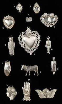 Votive pendants, Malta. Offered to a saint as a request for divine intercession in healing.