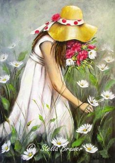 young girl pick flowers #child #painting Canvas Art, Fabric Painting, Watercolor Paintings, Painting For Kids, Art For Kids, Pictures To Paint, Beautiful Paintings, Flower Art, Art Gallery