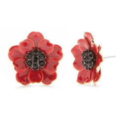 Kate Spade New York  Gold-Tone Precious Poppies Button Earrings (360 DKK) ❤ liked on Polyvore featuring jewelry, earrings, gold tone earrings, goldtone jewelry, gold colored earrings, earring jewelry and kate spade