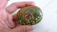 Hedgehog Painted Pebble - Animal Pebble  Very cute painted pebble made by Sue Dix, measures 2.5 x 2 x 0.75  See more of my books here http://etsy.me/1lNTDiv  Visit my shop at https://www.etsy.com/uk/shop/alltheseprettythings  ----------------------------------------------------------------------------  For exclusive discounts, updates and news about this store please follow on Facebook; https://www.facebook.com/alltheseprettythingsUK  Not...
