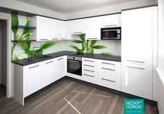 Kuchyne - bílá T-acrylic - Graphite Grey - grafosklo