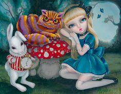 Alice au pays des merveilles signé Simona impression Candini Fantasy Fairytale fée grands yeux Cheshire Cat lapin Art
