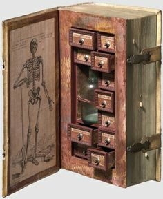 secret poison case disguised as a book, 17th century Cabinet of Curiosity