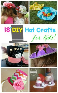 13 DIY Hat Crafts for kids plus some really fun ideas for celebrating Mad Hatter Day on October 6th) - what a fun way to have an Alice in Wonderland day with toddler, preschool, prek, kindergarten, first grade, and 2nd grade kids.
