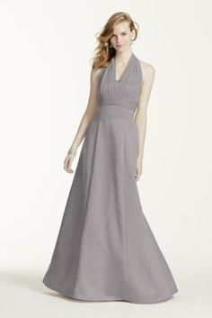 Bridesmaid (in Mercury) - This satin ball gown has an illusion halter strap that is sexy and stylish.   Illusion chiffon halter neckline.  Princess seam satin a-line skirt.  Also available in extra length sizes.