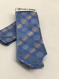 Stacy Adams Tie & Hanky Set Powder Blue Silver & Navy Polka Dots Men's  #StacyAdams #Set
