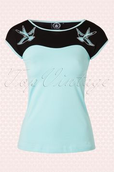 Sugar & Cake Blue Rockabilly Swallow Top 111 30 15313 20150222 0005W