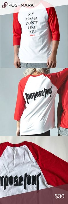 "PacSun • Justin Bieber's Purpose Tour All Access Basically new Purpose Tour merch! ""My Mama Don't Like You"" style baseball tee. Purpose Tour logo on the back. Only flaw is the tag fell off. WOMAN SIZE.  • 100% Authentic   ❌NO TRADES PacSun Tops Tees - Short Sleeve"