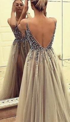luxury beading prom dresses for teens,sexy backless party gowns with splits, gr… Luxury beaded prom dresses for teenagers, sexy backless party dresses with columns, gray tulle senior prom dresses too Grey Party Dresses, Grey Prom Dress, Shrug For Dresses, Beaded Prom Dress, Party Gowns, Beaded Gown, Dress Long, School Dance Dresses, Senior Prom Dresses