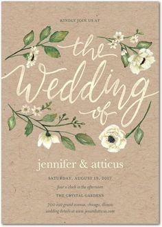 Delightful Blooms - Signature White Wedding Invitations in Bubblegum or Violet…