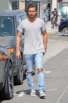 Scott Disick wearing Ksubi Van Winkle Jeans in Non Cents, Saint Laurent Leopard Print Sneakers and John Elliott Classic Crew T-Shirt Scott Disick Style, Star Fashion, Womens Fashion, Celebrity Outfits, Swagg, Normcore, Asap Rocky, Celebrities, My Style
