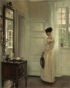 Carl Vilhelm Holsøe (Danish painter) 1863 - 1935 Salongsinteriör med Kvinna (Salon Interior with Woman), s. oil on canvas x cm. Art And Illustration, Mirror Art, Art Plastique, Beautiful Paintings, Love Art, Oeuvre D'art, Painting & Drawing, Dress Painting, Art History