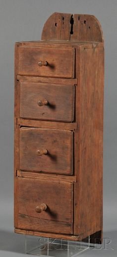 Four-drawer Pine Hanging Box, America, early 19th i need to find some of these little drawers antique or not!