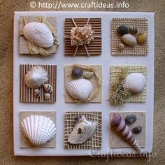 Summer Seashells Craft - Canvas With Seashell Inchies VERY CUTE craft idea for my beach bathroom theme. Especially since I have a TON of sea shells I've collected since I was a wee lad! If you love arts and crafts a person will appreciate this website! Sea Crafts, Nature Crafts, Cute Crafts, Diy And Crafts, Food Crafts, Seashell Art, Seashell Crafts, Starfish, Crafts With Seashells