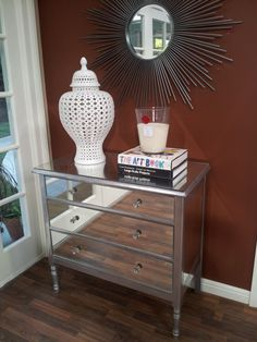 Mirrored dresser on set at Home + Family. DIY!