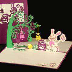 Pop Up Karte zum Osterfest - Osterhase mit Ostereiern - Grußkarte zu Ostern