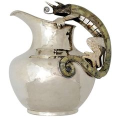 Wolmar Castillo Taxco Handwrought Silverplate Salamander Pitcher | From a unique collection of antique and modern pitchers at http://www.1stdibs.com/furniture/dining-entertaining/pitchers/