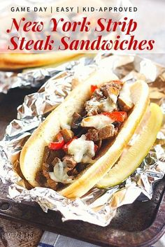 Meaty, cheesy and full of flavor, my New York Strip Steak Sandwiches are my version of classic Philly cheesesteaks.