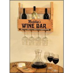 Custom Wine Bottle and Glass Holder made from a pallet!