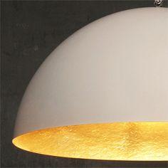 Mezza 1 Pendant Lamp - Wht/Gld - alt_image_one