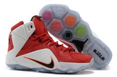 08baea5905e5 LeBron 12 684593 601 Red White Crimson Black Discount Nike Shoes
