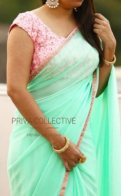 PV 3565 : Baby pink and mint green.Price : gorgeous in this pastel drape this season. Mint green pearl studded chiffon sari finished with baby pink borderUnstitched blouse piece - Baby pink net blouse pieceFor Order . Saree Jacket Designs, Saree Blouse Neck Designs, Saree Blouse Patterns, Lehenga Blouse, Fancy Sarees, Party Wear Sarees, Saree Color Combinations, Plain Saree, Saree Trends