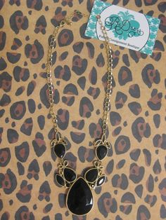 Black & Gold Pendant Necklace  $18