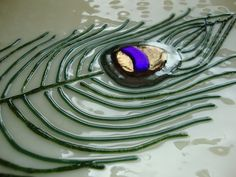 Peacock Collection  Fused Glass Platter by fireflysg on Etsy, $96.00