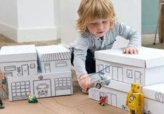 Para los niños: una ciudad con cajas de cartón