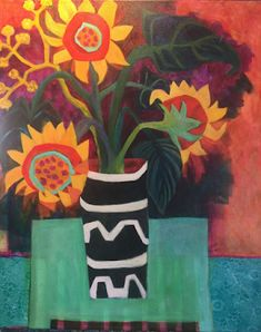 "Where ART Lives Gallery Artists Group Blog: Contemporary Abstract Still Life Flower Art Painting ""Here Comes The Sun"" by Bold Expressive Painter,Santa Fe Artist Annie O'Brien Gonzales"