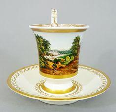 KPM Berlin Biedermeier Veduten Tasse, Ansicht einer Landschaft mit Fluß, um 1830 in Antiquitäten & Kunst, Porzellan & Keramik, Porzellan | eBay