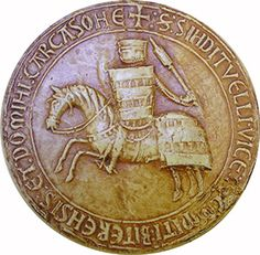First seal of Raymond II Trencavel, viscount of Albi, Beziers and Carcassonne, 1247. (Reverse the seal. Gap complemented by photographic montage using the obverse).  National Archives Service of the Seals, D 760 bis.