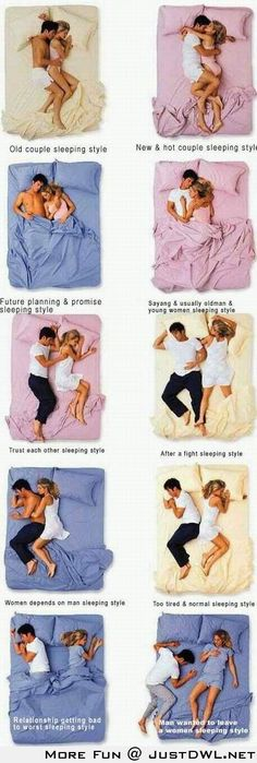Oh this is funny! MOST POPULAR COUPLE SLEEPING POSITION