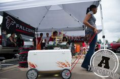 Trick out your tailgating cooler with flame decals, hardcore wheels and LED lighting. DIY Project Instructions! #tailgating #gameday