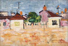 Alexandru Ciucurencu (1903 - 1977) Houses Căciulaţi, 1941 Post Impressionism, Impressionist, Frasier Crane, Art Techniques, Houses, Paintings, Life, Ideas, Homes