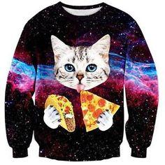 999ce918090c6 Men Women Galaxy Pizza Cat 3d Print Crew Sweatshirt Pullover S M L XL XXL  Taco Cat