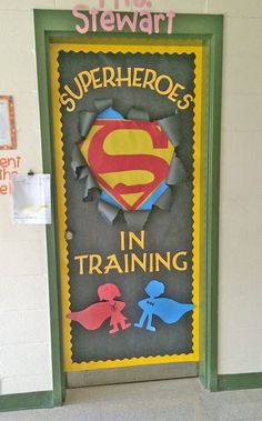 Check out these cool back to school bulletin boards! Welcome students with these creative bulletin board and classroom door decorating ideas. Superhero Classroom Door, School Classroom, Classroom Themes, Superhero Bulletin Boards, Holiday Classrooms, Classroom Rules, Classroom Welcome Boards, Primary Classroom Displays, Superhero School Theme