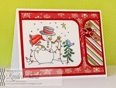 Luv 2 Scrap n' Make Cards, Kendra Sand, Great Impression Stamps, Decorating Snowman, Christmas Card