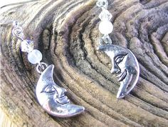 Nature Series:  Silver Crescent Moon Earrings with Moonstone and Crystal - pinned by pin4etsy.com