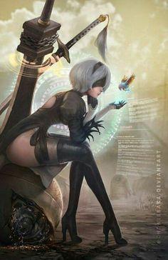 NieR Automata,Nier (series),Игры,YoRHa Type B,chewiebaka Fantasy Girl, Fantasy Characters, Female Characters, Neir Automata, Game Costumes, Animes Wallpapers, Beautiful Anime Girl, Comics Girls, Anime Art Girl