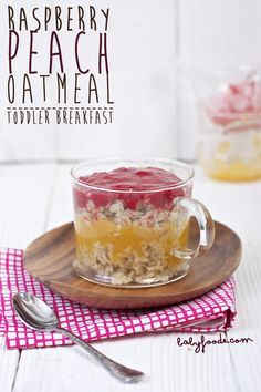 Raspberry and peach puree with oatmeal for toddlers.