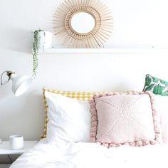 Closely Knit Square Pom Pom Cushion Blush